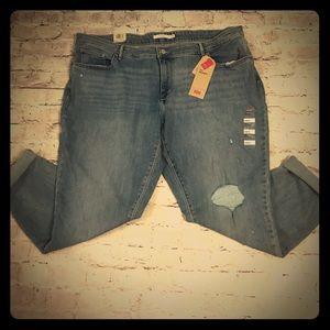 NWT! Levi 711 Mid Rise Skinny Jean Size 24W